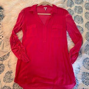 Splendid pink long sleeve shirt collar soft S